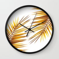 golden palm leaf II Wall Clock