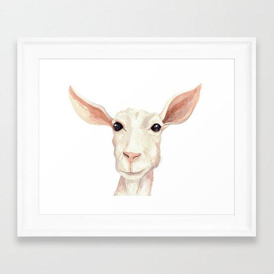 Watercolor Billy Goat Framed Art Print