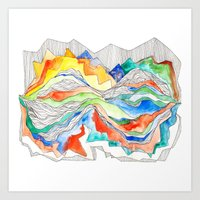 Technicolor Mountains Art Print