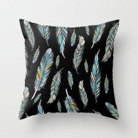 feather black Throw Pillow