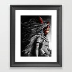 Miyazaki's Mononoke Hime Digital Painting the Wolf Princess Warrior Color Variation Framed Art Print