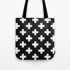 Black and white swiss cross pattern Tote Bag