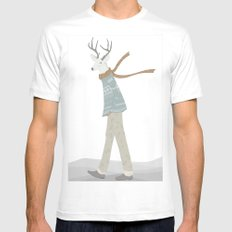 Mr. Deer White SMALL Mens Fitted Tee
