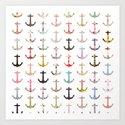 Vintage retro sailor girly floral nautical anchors Art Print