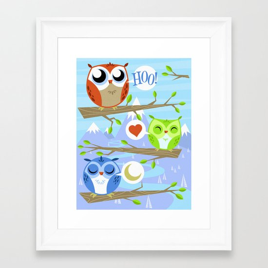 Owl Hangout With You Framed Art Print