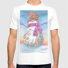 Sunset Daisy Snowman Mens Fitted Tee White SMALL
