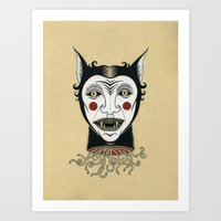 Cat Head With Worms Art Print