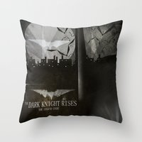 dark knight rises movie fan poster Throw Pillow