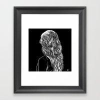 Hair in Black Framed Art Print