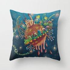 the intergalactic train Throw Pillow