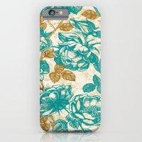 Cyan Roses Toile De Jouy iPhone 6 Slim Case