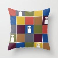 TARDIS Tiles Throw Pillow