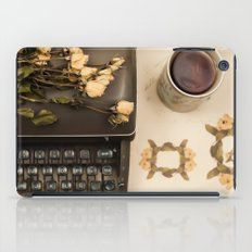 Little roses over an old typewriter and tea (Retro and Vintage Still Life Photography) iPad Case
