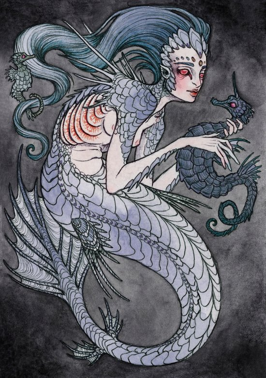 the Siren and the Seahorse art print  Art Print