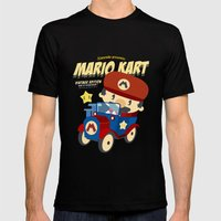 Mario Kart Vintage Mens Fitted Tee Black SMALL