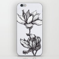 Magnolia in black and white iPhone & iPod Skin