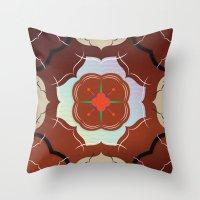 Vintage Tiles: Red Throw Pillow