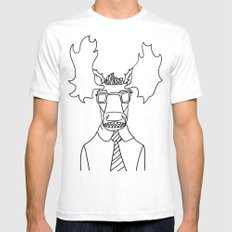 Moose White SMALL Mens Fitted Tee
