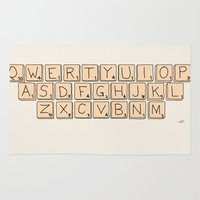 Qwerty Scrabble  Rug