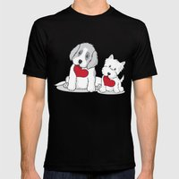 Valentine's Day Dogs Mens Fitted Tee Black SMALL