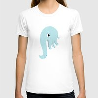 Elephant Squid Womens Fitted Tee White SMALL