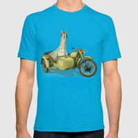 Sidecar Llama Mens Fitted Tee Teal SMALL