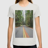 Avenue Of The Giants Womens Fitted Tee Silver SMALL