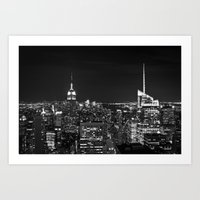 Manhattan Skyline Black … Art Print