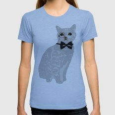 Wise cat with bow and tie Womens Fitted Tee Athletic Blue SMALL