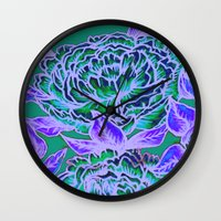 Peonies - Blue, Green, P… Wall Clock
