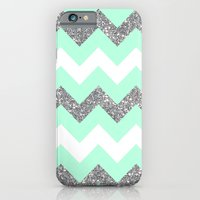 seafoam glitter chevron iPhone 6 Slim Case