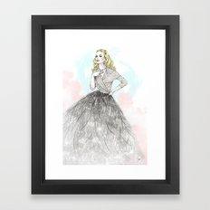 Ostrich Fashion Illustration Framed Art Print