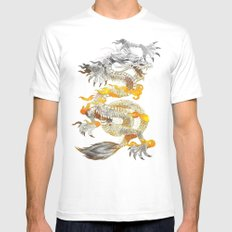 Fire SMALL White Mens Fitted Tee