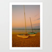Two Boats At Sunset Art Print