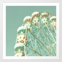 Mid white ferris wheel on mint Art Print