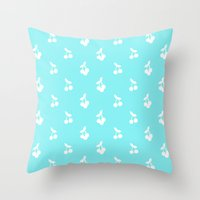 Blue Cherries Throw Pillow