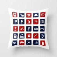 Travel Icons in RWB Throw Pillow