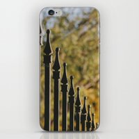 Iron Fence, Yellow Leave… iPhone & iPod Skin