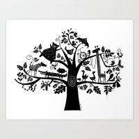 :) animals on tree Art Print