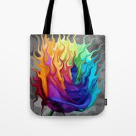 Colorful Flaming Flower Tote Bag