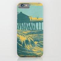 iPhone & iPod Case featuring Vintage Huntington Beach Poster by Jon Hernandez