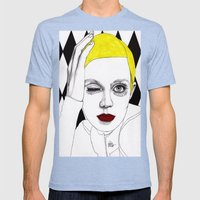 Girl with Yellow Hair Mens Fitted Tee Tri-Blue SMALL