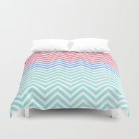 Chevron Blue and Red vintage Duvet Cover
