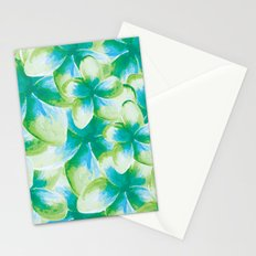 Blue Plumeria Floral Watercolor Stationery Cards