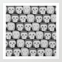 Boo - Skulls Pattern Art Print