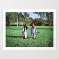 Girls in field Art Print