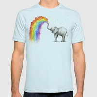 Baby Elephant Spraying Rainbow Whimsical Animals Mens Fitted Tee Light Blue SMALL