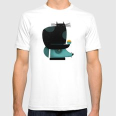BLACK CAT ON HEAD Mens Fitted Tee White SMALL
