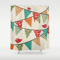 Home Birds 'N' Bunting. Shower Curtain
