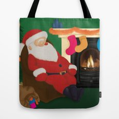 Sleeping Santa Tote Bag